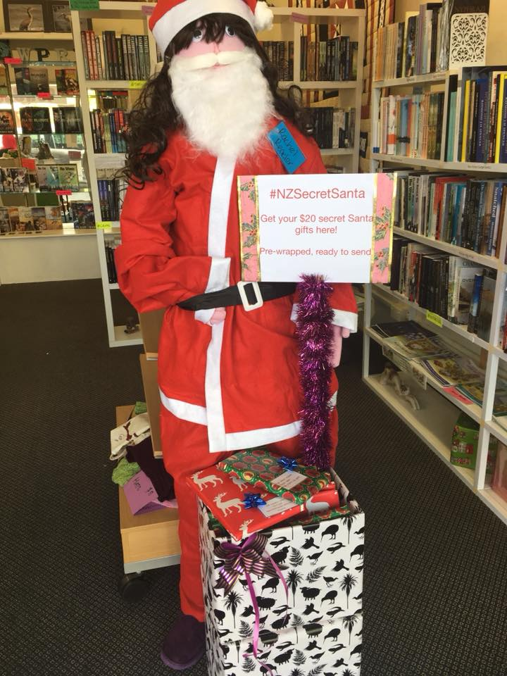 Cybil dressed up as Santa Claus for Christmas and #NZSecretSanta